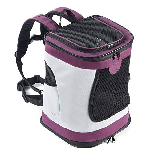 Waterproof Padded Fabric Pet Dog Puppy Cat Backpack Rucksack Carrier Bag Top Open Soft Side Breathable Mesh For Travel Camping Outdoor (Color : Purple)
