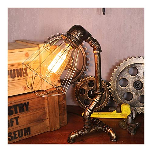 Industrial Nachttischlampe Schreibtischleuchte Schwarz Metall Rahmen mit Marmorbasis ohne Birne