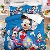 Cartoon Mickey Minnie Mouse Kids Comforter Duvet Cover Sets for Boys Girls Anime Bed Set Cartoon Theme Bedding Set(Full)