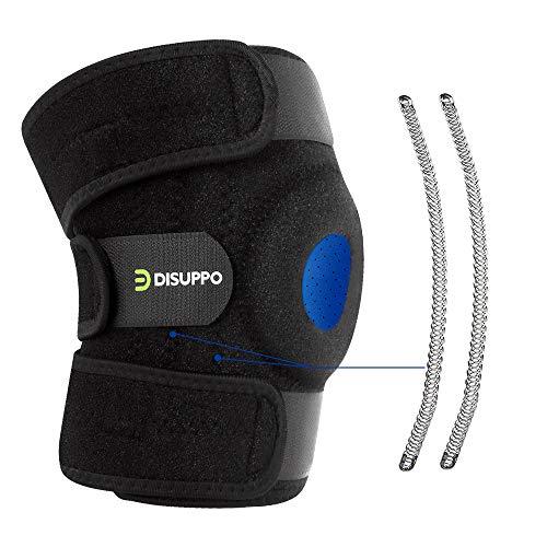DISUPPO Rodilleras Deportivas Equipo de Protección Transpirable Apoyo de la Rodilla para Hombres y Mujeres, 3 Tiras de Velcro Elásticas Ajustables, Antideslizante Soporte de Rodilla (Una Rodillera)