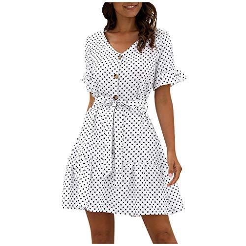 Ansenesna Damen Kleid Punkte Sommer V Ausschnitt Elegant Sommerkleider mit Knöpfen Frauen Kurz A Linie mit Gürtel Kleider (Weiss,S)