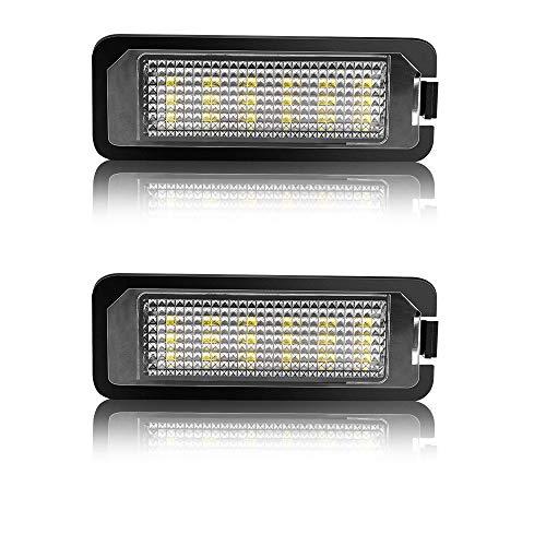 Safego Luz de matrícula LED para Coche Lámpara Número Placa Luces 2835 SMD con Canbus No error 6000K Xenón Blanco para G0/ /1F 5/6/7 Lup0 Pas/*-saT Scir0cc0 P0/*-l0 etc, 2 Piezas, 1 año de Garantía