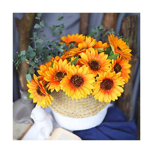 T4U Ramo de Girasoles Flores Artificiales de Seda – 15 Cabezas, Plantas Plastico Decorativas de Imitación para Arreglos…