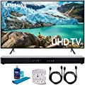 "Samsung RU7100 LED Smart 4K UHD TV 2019 Model with Screen Cleaner for LED TVs, SurgePro 6-Outlet Surge Adapter, 2X HDMI Cable & Home Theater 31"" Soundbar"