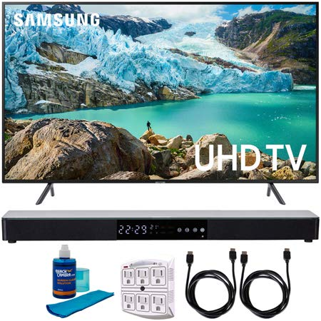 "Samsung 55"" RU7100 LED Smart 4K UHD TV 2020 Model (UN55RU7100FXZA) with Screen Cleaner for LED TVs, SurgePro 6-Outlet Surge Adapter, 2X HDMI Cable & Home Theater 31"" Soundbar"