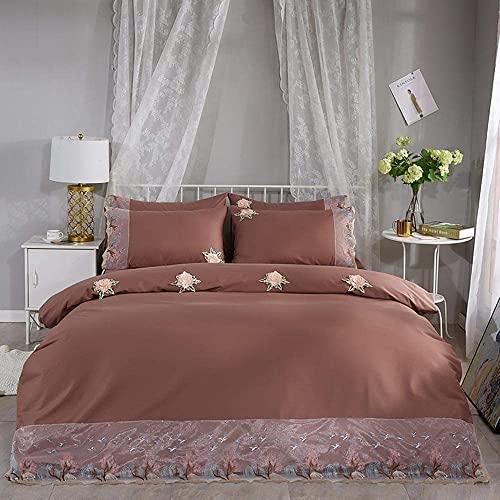 AWJ Bettwäsche-Tröster-Set, 4-teiliges Bettwäsche-Set, Gesteppte Bettdecke 4-teiliges Set Einfarbige Tagesdecke Geb&ene Seil-Decke Spitze Kissenbezug Einfache Twill-Bettwäsche für Bettwäs
