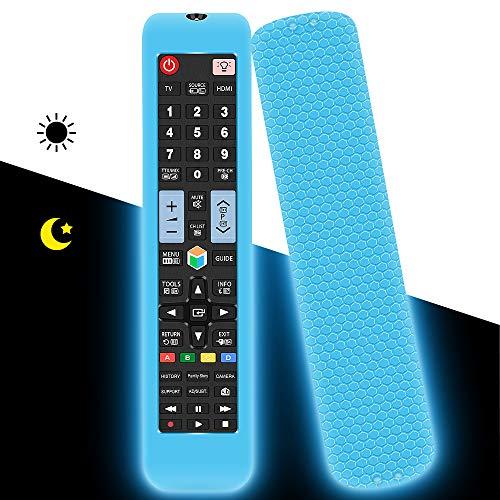 Custodia in Silicone per Samsung Telecomando Universale AA59-00582A AA59-00581A AA59-00580A Sostitutivo, Anti-Scivolo Protettiva Cover Cassa Copertura per Samsung Smart TV 3D Remote(Blu Fluorescente)
