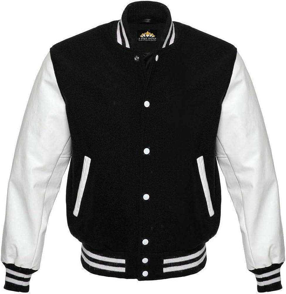 5 Star Letterman Baseball School College Bomber Fashion Varsity Jacket Black Leather & White Genuine Leather Sleeves