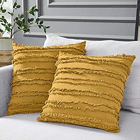 Longhui bedding Mustard Yellow Cotton Linen Throw Pillow Covers for Couch Sofa Bed, Decorative Throws Cushion Covers, 18 x 18 inches, Set of 2, No Inserts