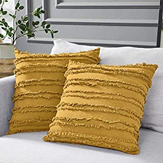 Best Longhui bedding Mustard Yellow Cotton Linen Throw Pillow Covers for Couch Sofa Bed, Decorative Throws Cushion Covers, 18 x 18 inches, Set of 2 Review