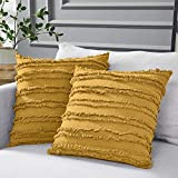 Longhui bedding Mustard Yellow Cotton Linen Throw Pillow Covers for Couch Sofa Bed, Decora...