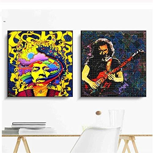 YaShengZhuangShi Bild auf leinwand Acid LSD Music Artwork Vintage Poster Ölgemälde auf Leinwand Wandkunst Wandbilder Bilder Wohnzimmer Dekor 2x70x70cm kein Rahmen