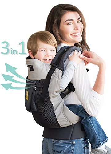 LÍLLÉbaby CarryOn Airflow 3-in-1 Ergonomic Toddler & Child Carrier, Charcoal/Silver - 20 to 60 lbs