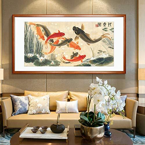 Neue Chinesischen stil Feng Shui Jiuyi wohnzimmer malerei home hotel büro banner Chinesische malerei neun fische figur dekoration benutzerdefinierte mahagoni farbe rahmen fertigprodukt 202x106 cm