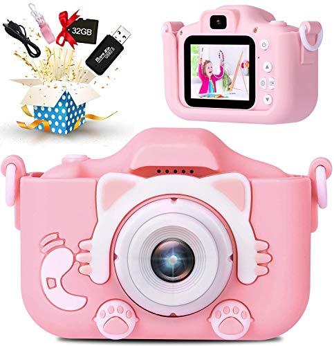 子供用 カメラ2021最新版子ども用デジタルカメラ 2000万画素 8倍デジタルズーム HD録画 タイマー撮影 自撮り機能付き HD画質 操作簡単 USB充電 32GBSDカードと日本語取扱説明書が付属(ニャンコ粉)