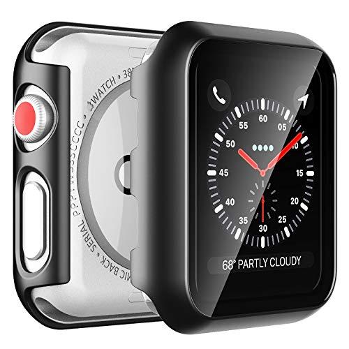 LϟK 2 Pezzi Nero Custodia Cover per Apple Watch Series 3 / Series 2 / Series 1 42mm con Vetro Temperato - Copertura Completa Custodia Rigida HD Clear Pellicola Protettiva per Apple Watch