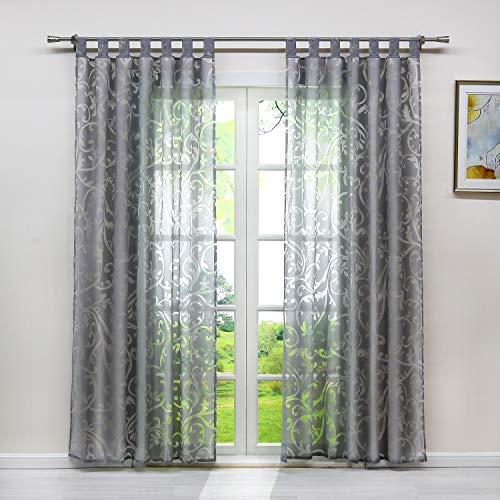 Heichkell Voile Gardinenschal mit Schlaufen Transparent Vorhang mit Ausbrenner Design Wohnzimmer Gardine 1PC Store BxH 140x225cm Grau