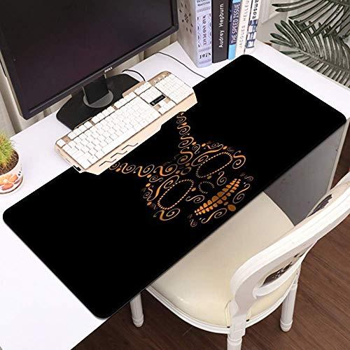 Gaming Alfombrilla de ratón, estera de ratón grande Cráneo Floral Boho Paisley Remolinos Resumen Skull Mandala Flower Print, Costadas Edges Gaming Mouse Pad Mat Mat Liso Cómodo ( Color : Style1 )