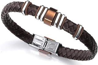❤️ Amlaiworld Pulsera de hombre Mujer Brazalete brazalete de cuero trenzado de acero inoxidable para hombres Mujeres marr/ón