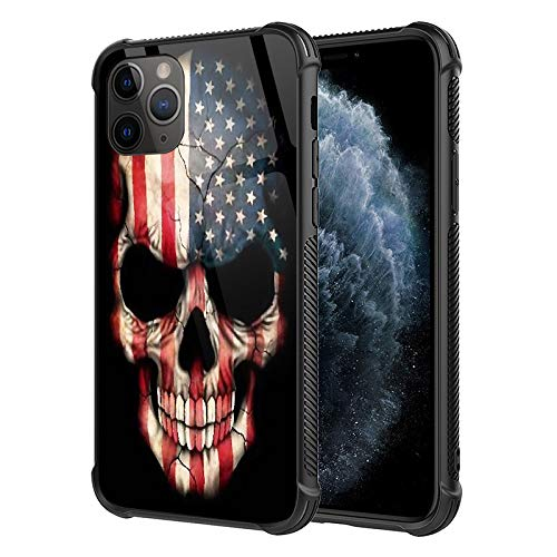 iPhone 11 Case,American Flag Skull Pattern Design Tempered Glass iPhone 11 Cases for Girls Men Womens [Anti-Scratch] Soft TPU Bumper Frame Support Cover Case for iPhone 11(6.1inch)