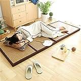 Foldable Mattress Thicken Bamboo Japanese Tatami Mat Cooling Rattan Floor Mat Dormitory Sleeping Pad Exercise Mat for Meditation Space/Yoga/Zen Room/Japanese Tearoom 35.4'x78.7'x1.77'