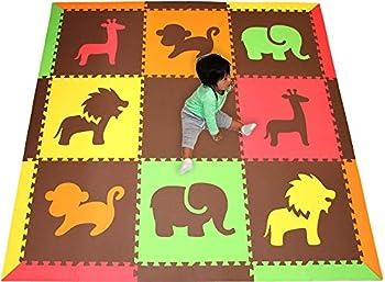 SoftTiles Children s Foam Playmat- Safari Animals Theme- Premium Interlocking Foam Mats for Children s Playrooms/Nursery- Red Yellow Orange Lime & Brown- Large 6.5 x 6.5 ft.