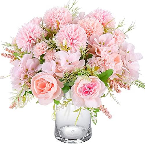 Beferr 2 Pack Fake Peony Silk Hydrangea Bouquet, Decorative Artificial...