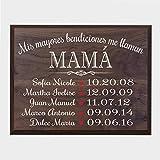 LifeSong Milestones Bendiciones familiares personalizadas Wall Plaque Regalo para Padres, Abuelos, mam o pap con nombres de nios y fechas de nacimiento de 12'x 15' (Walnut)