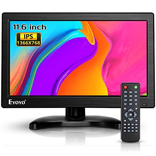 Eyoyo12インチ モニター 小型 モニター IPS 全視野 HDMIモニター 高画質1366x768 HD CCTVモニター サブ ディスプレイ USB HDMI VGA AV BNC接続 防犯監視モニター スピーカー内蔵 リモコン付き 日本語取扱説明書
