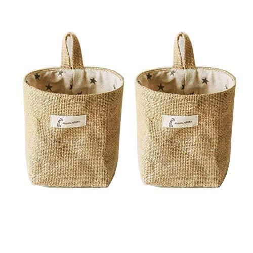 Monba 2pc klein Baumwolle Leinen Wäscheklammerbeutel mit Aufhänger–langlebig hängen Wäscheklammer Tasche Peg Korb für Wäscheklammern mit Aufhänger, Baumwolle und Bettzeug, Grey Star, 10 X 14X13 cm