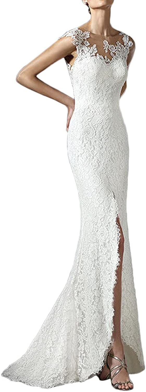Avril Dress Sheath Column Floor Train Lace Sleeveless Wedding Dress Open Back