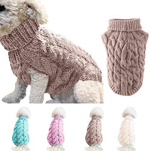 Ponacat Haustier Pullover Hund Rollkragenpullover Strickpullover Warmer Pullover Strickwaren Outwear kaltes Wetter Mäntel (Khaki/XL)
