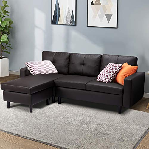 Esright Small Faux Leather Sectional Sofa Couch 3 Piece Living Room Small Convertible Couch, L-Shape Couch with Chaise Lounge for Small Space Apartment, Black Coffee