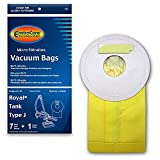 EnviroCare Replacement Micro Filtration Vacuum Cleaner Dust Bags for Royal Tank Type J. 7 Pack and 1 Filter, tan