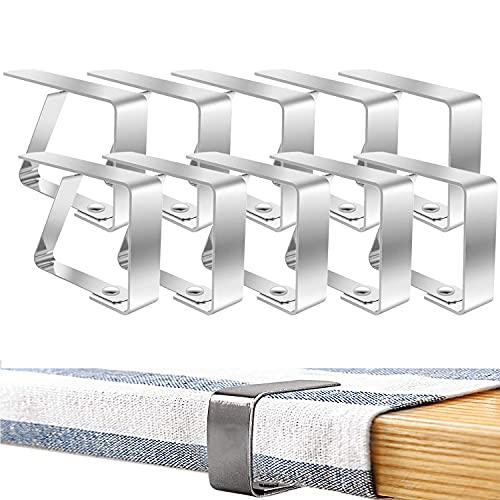 Kamiya Clips de Acero Inoxidable para Mantel 10 Piezas Pinza para Mantel sujeta manteles, para mesas de hasta 3 cm de Grosor