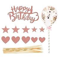 Tomaibaby 2セット誕生日ケーキトッパー紙吹雪バルーンケーキトッパースターハートカップケーキトッパーの誕生日パーティーケーキピック装飾