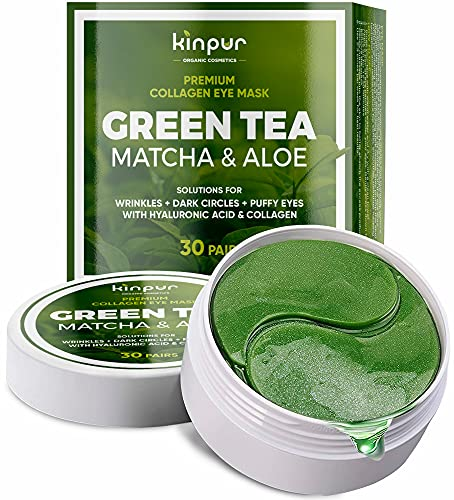 Premium Under-Eye Mask for Dark Circles, Puffiness, and Eye Bags with Green Tea Matcha - Hydrating and Anti-Wrinkle Effect - Under-Eye Patches with Hyaluronic Acid and Collagen - 30 Days of Use