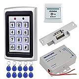 HFeng Sistema Control Acceso Kit Set Teclado RFID Metal + DC12V 3A Controlador Fuente Alimentación + NC Cerraduras electrónicas + Botón Salida Puerta + 10pcs Tarjeta llaveros Keyfobs