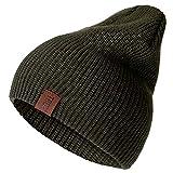 MAWA 1 Pieza Sombrero PU Letra True Gorros Casuales para Hombres Mujeres Sombrero de Invierno de Punto cálido Gorro Unisex de Moda Hip-Hop sólido - Verde Militar, 54cm-60cm