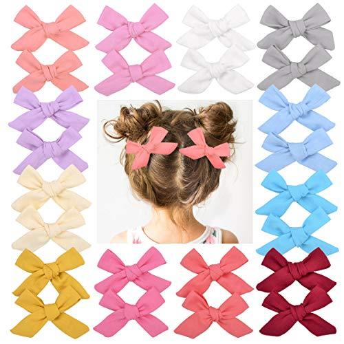 Juego de lazos para el pelo, para niña pequeña, con estampado floral, pinza de cocodrilo, pinzas para el pelo para niños pequeños, 8 cm, multicolor