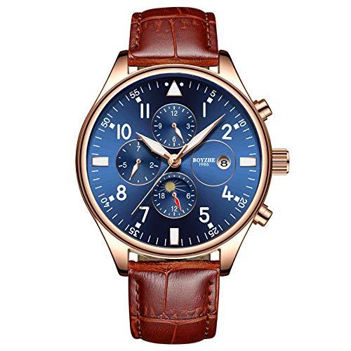 Reloj de Pulsera de Cuero para Hombre, mecánico, automático, Resistente al Agua, para Negocios, Reloj de Pulsera -D