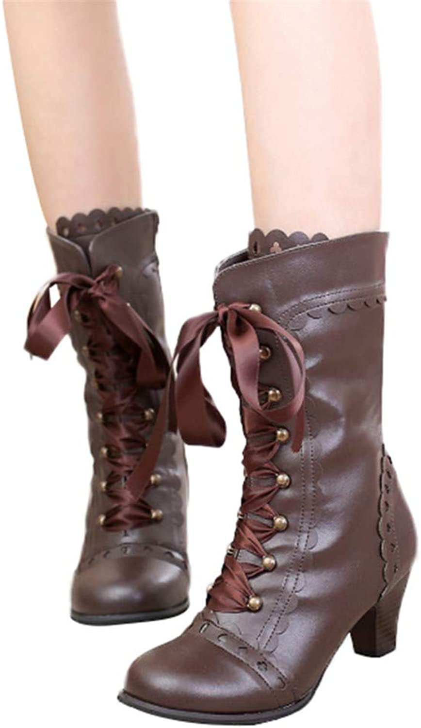Feminino Vintage Lace-up Ribbon Zipper Boots Pu Leather High Heel Mid Calf Bootie