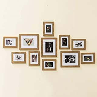 Muzilife 11 pcs Collage Picture Frame-3pcs 8x10+ 8pcs 5x7 Display Photograph and Wall Décor Photo Frames for Dining Room Bedroom and Living Room (Oak)
