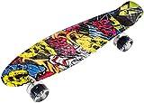 HyperMotion Monopatín para niños y adolescentes | Retro Board 56 x 15 cm 22 pulgadas con rodamientos ABEC-7 | Ruedas LED 60 x 45 mm | Dureza 80A | Material 100% caucho | Graffiti