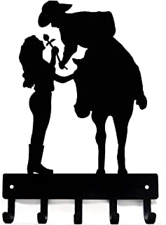 The Metal Peddler Cowboy Cowgirl Rose - Romantic Couple - Key Rack Hanger (Unframed Small 6 inch Wide)