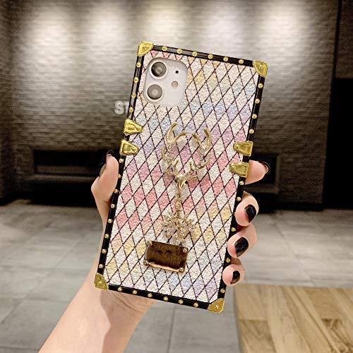 FYMIJJ Estuche deLujo parateléfono conCiervos Cuadradospara iPhone 11 Pro MAX Estuche 6 6S 7 8 Plus x XR XS MAX Cubierta de Letrero de Metal Patrón de Diamante, para iPhone 7