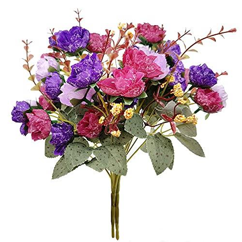 2 Ramo de Rosas Artificiales, 21 Cabezas, Flores Artificiales para Boda, Hogar, Jardín, Fiesta, Mesa Decoración, 7 Tallos, Púrpura