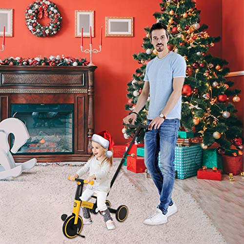 NixueLILI 1-5 Years Toddler Balance Bike Tricycle, 5-in-1 Multifunctional Three-Wheels Pedal Bicycle for Kids(Putter Adjustable) Indoor Outdoor Fitness Balance Trainer Beginner Rider Toy (YE)