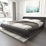 Modern Bed Frames Full with Adjustable Headboard, Faux Leather Upholstered Platform Low-Profile Full Size Bed Frame, Mattress Foundation, Wood Slats Support, No Box Spring Needed (Black)