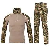 Men Combat T Shirt and Pant Set 1/4 Zip Camo Military Tactial Uniform with Long Sleeve BDU Airsoft Hunting Shirt (XL, MC Camouflage)